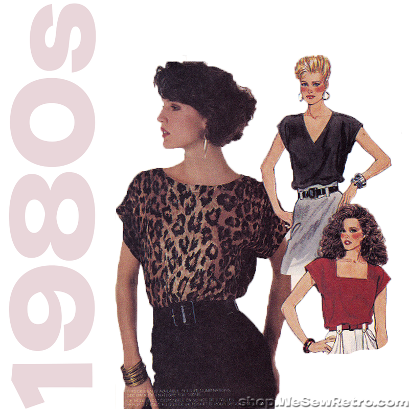 McCalls 3642 Vintage Sewing Pattern - 1980s Top with Neckline Variations