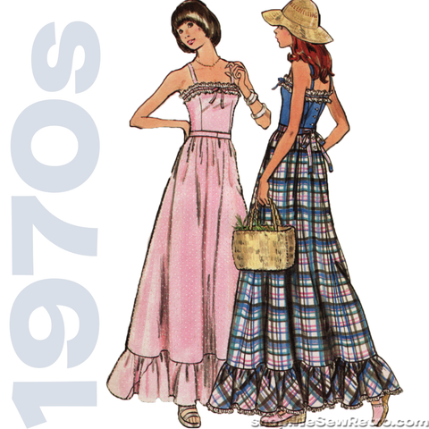 1970s Maxi Dress Vintage Sewing Pattern: Butterick 3656 Women's Maxi Dress Pattern