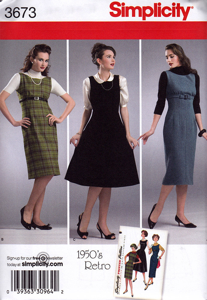 Simplicity 3673 Dress Sewing Pattern - 1950s Vintage Sewing Pattern