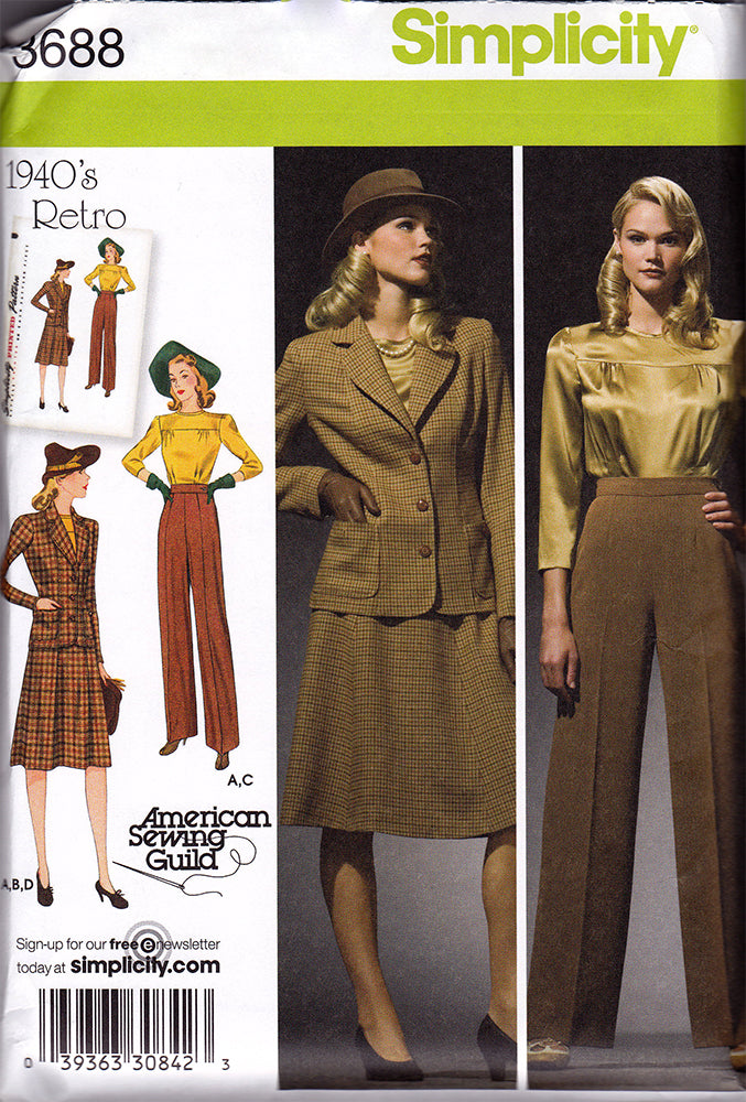 Simplicity 3688: 1940s Repro Vintage Sewing Pattern: Sportswear Separates.
