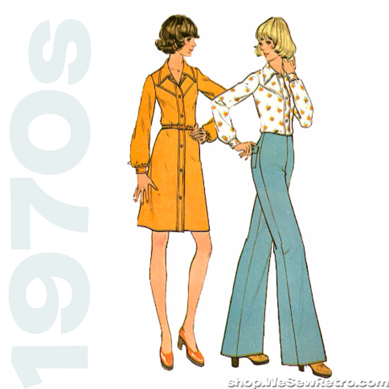 McCall's 3705 Vintage Sewing Pattern - 1970s Flares, Dress and Shirt