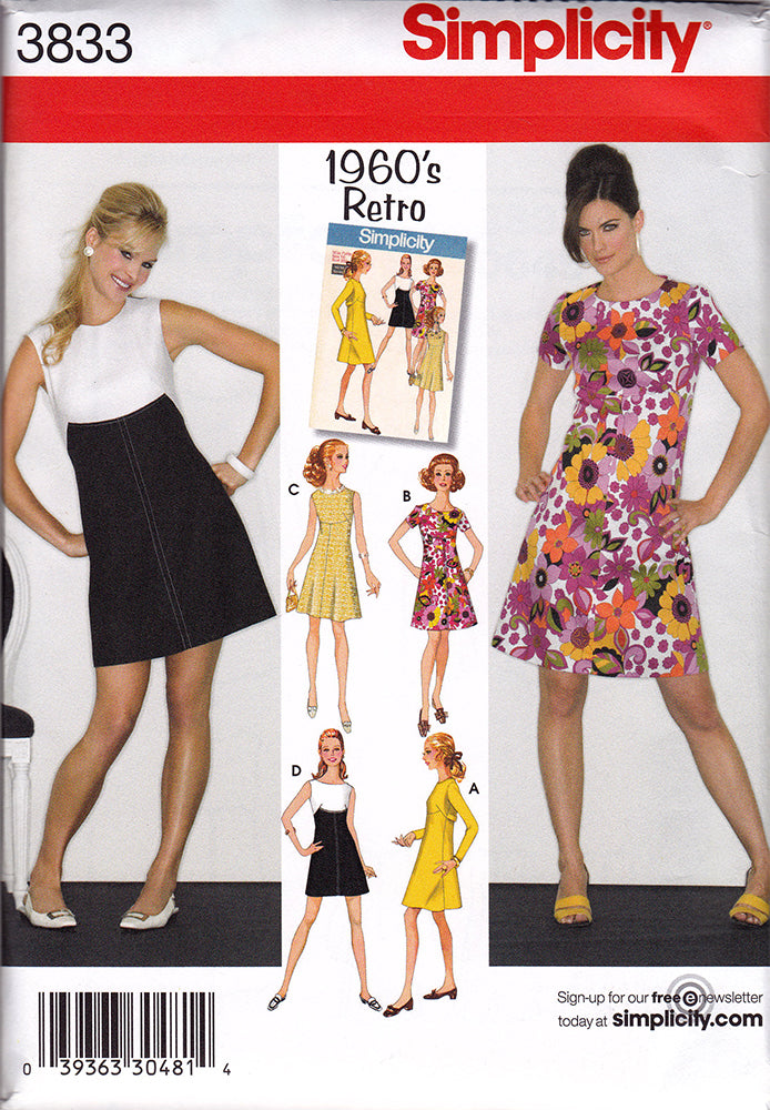 1960s Repro Vintage Sewing Pattern: Mod Dresses. Simplicity 3833 *