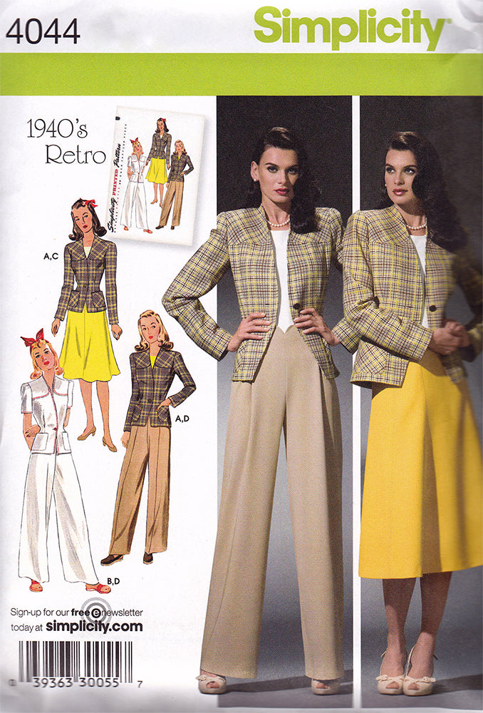 Simplicity 4044: 1940s Repro Vintage Sewing Pattern: Sportswear Separates.