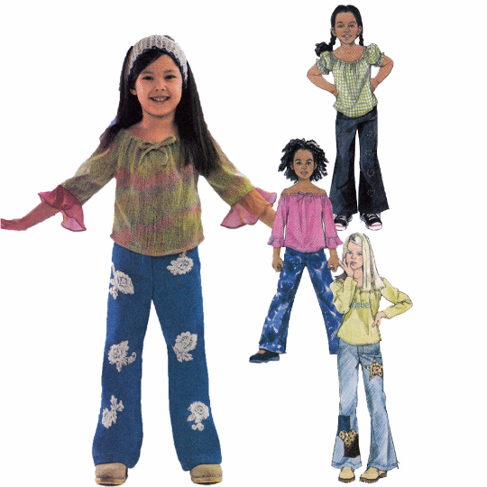 McCalls 4193 Sewing Pattern - Girls Flares and Peasant Tops