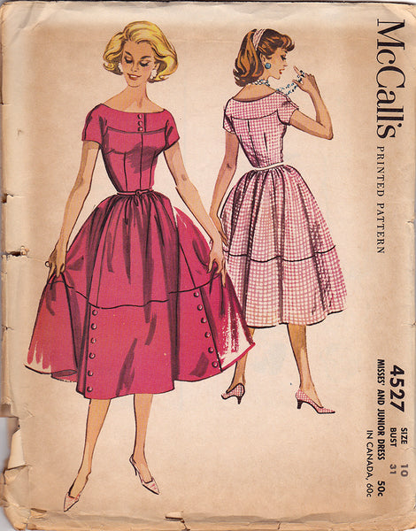 1950s Vintage Sewing Pattern Mccalls 4527 Misses Dress