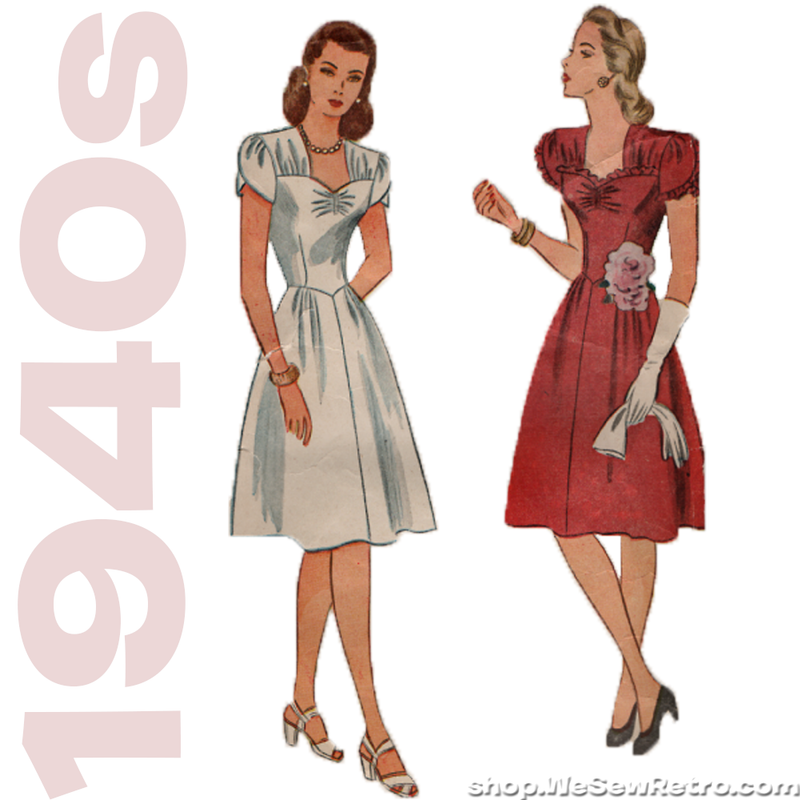 Simplicity 4986 Vintage Pattern - 1940s Womens Dress Sewing Pattern