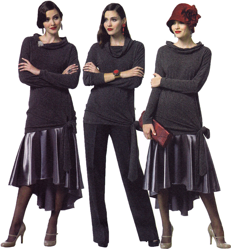 Butterick 5858. 1920s Inspired Sewing Pattern. Cascade Skirt, Slim Fitting Top, Straight Leg Pants.