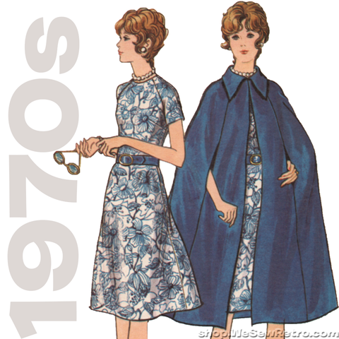1970s Dress and Cape Vintage Sewing Pattern - Butterick 6091