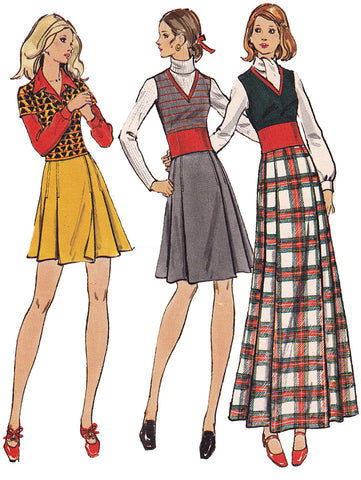 1970s Vintage Sewing Pattern: Kilt Skirt and Top. Butterick 6771