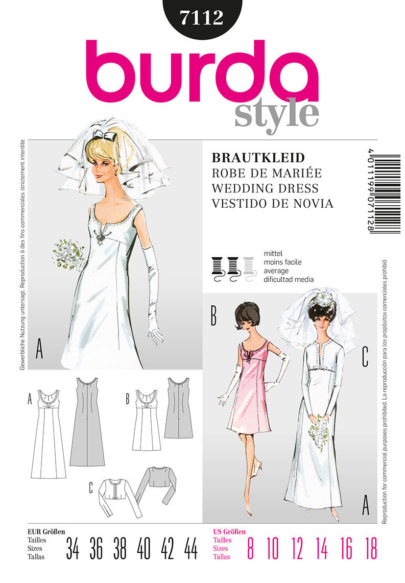Burda Style 7112 Sewing Pattern - 1960s Dress Pattern