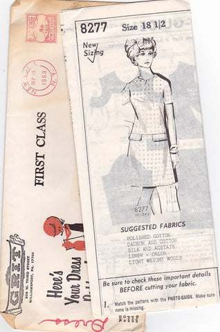 1960s Vintage Sewing Pattern: Dropped Waist Dress. Grit 8277 Mail Order Pattern