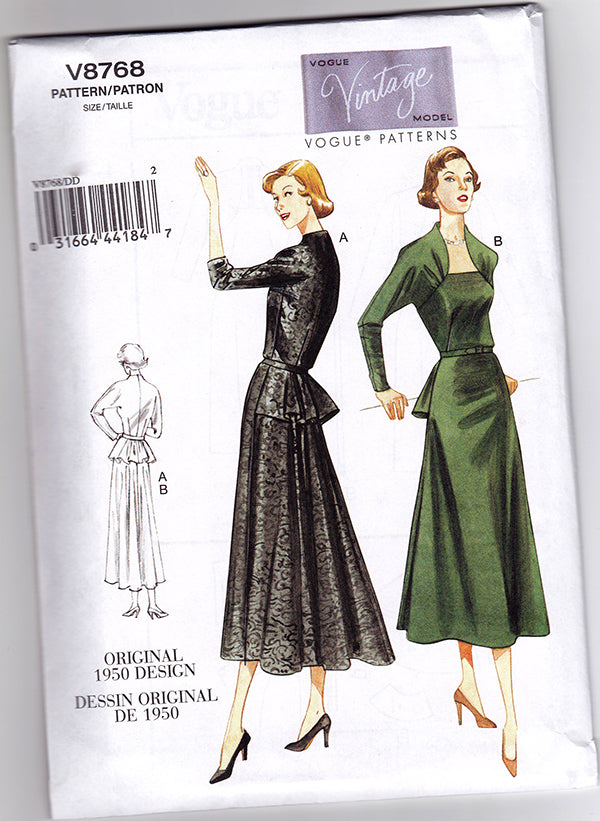 Vogue 8768 1950s Vintage Vogue Sewing Pattern: Peplum Dress. Vogue V8768