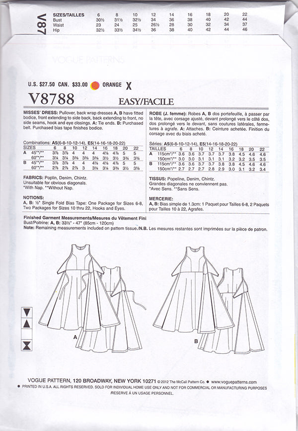 V8788 1950s Vintage Vogue Sewing Pattern: Back Wrap Dress Pattern. Vogue 8788