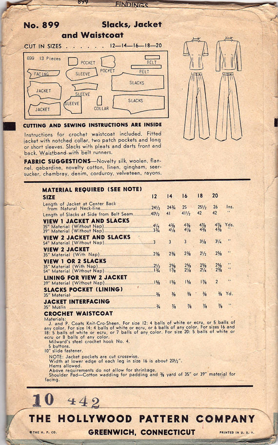 Hollywood 899 - 1940s Vintage Sewing Pattern: Pants, Jacket & Crocheted Vest