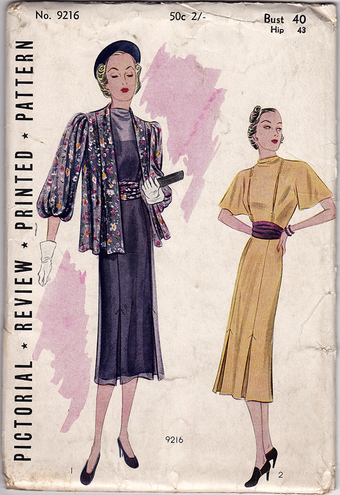 Pictorial Review 9216. 1930s Vintage Sewing Pattern. 40 Inch Bust