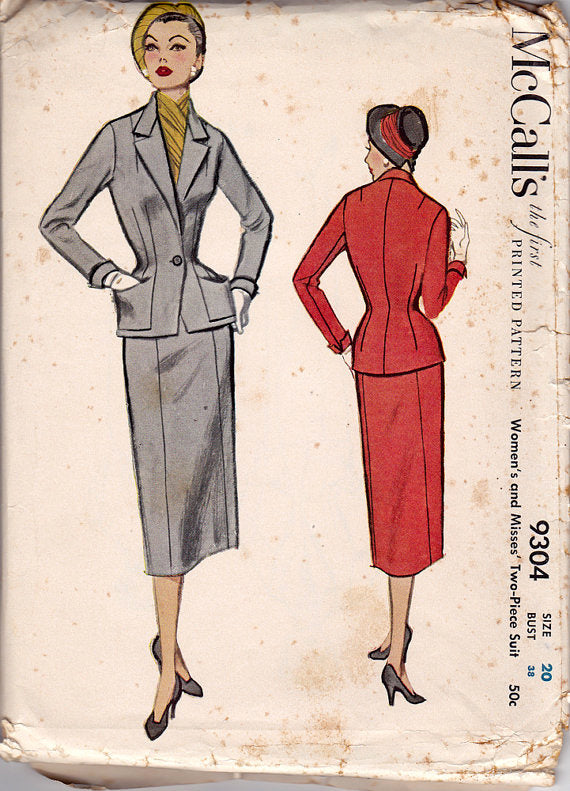 "McCall's 9304 - 1950s Vintage Sewing Pattern: Fitted Suit - 38"" Bust"