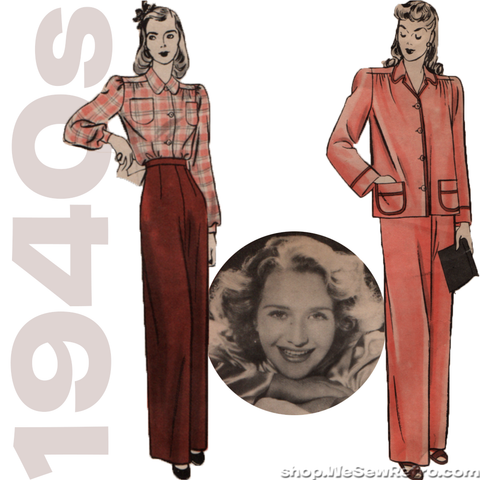 1940s Vintage Sewing Pattern: Hollywood 9919 Women's Pajamas with Priscilla Lane