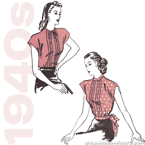 "1940s Vintage Sewing Pattern: 32"" Bust Misses Blouse Pattern. Advance 4202"