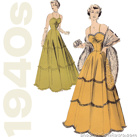 1940s Vintage Sewing Pattern: Evening Gown. Advance 5048