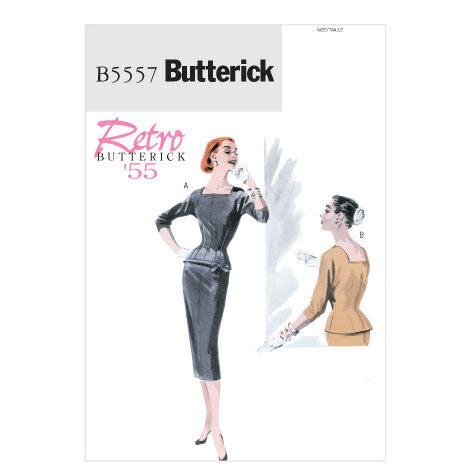 Butterick 5557 1950s Repro Vintage Sewing Pattern: Fitted Top and Skirt