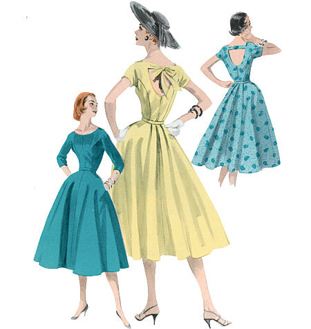 1950s Repro Vintage Sewing Pattern: Open Back Dress. Butterick 5605
