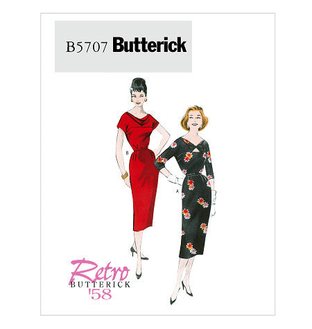 Butterick 5707 1950s Repro Vintage Sewing Pattern: Bias Yoke Dress and Belt