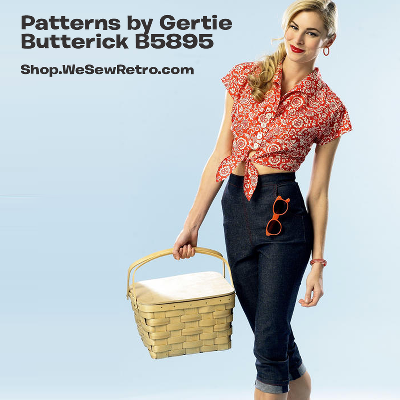B5895 Patterns by Gertie Vintage Capris Sewing Pattern - Butterick 5895 1950s Inspired Top and Jeans Pattern