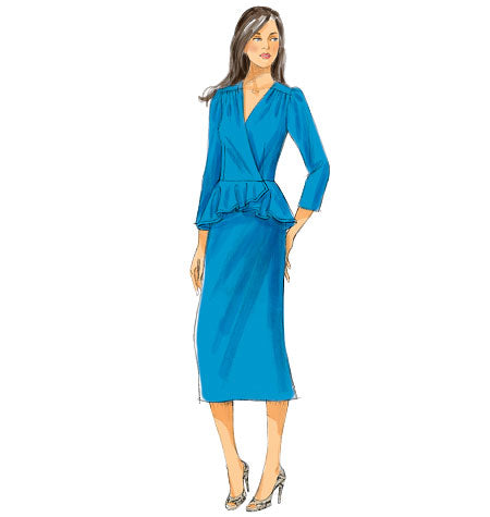 Retro Inspired Peplum Dress Sewing Pattern: Butterick 5916
