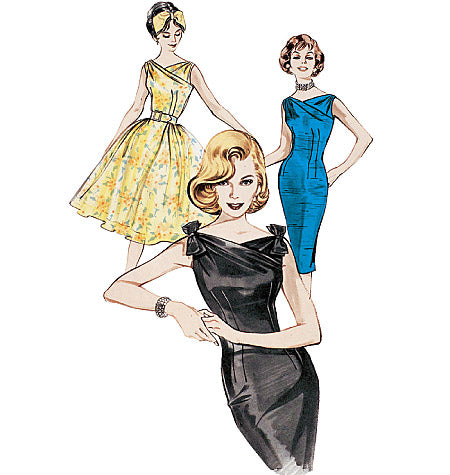 1960s Repro Vintage Sewing Pattern: Fitted or Flared Dress. Butterick 6582