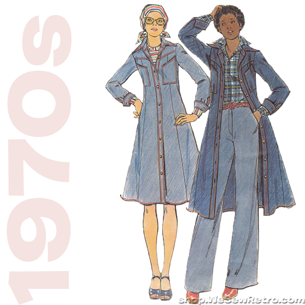 1970s Denim Dress Vintage Pattern - Butterick 4532
