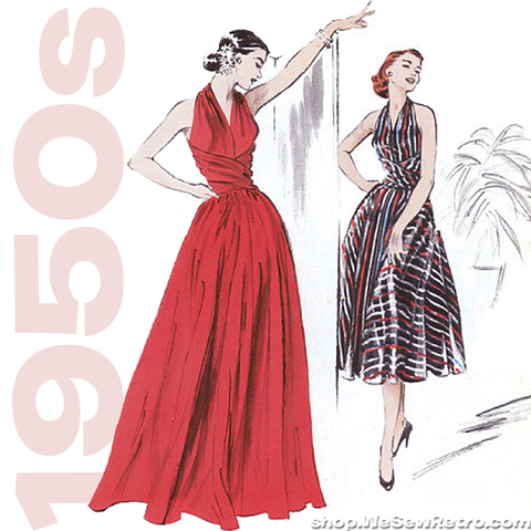 1950s Repro Vintage Sewing Pattern: Flared Dress. Butterick 4919