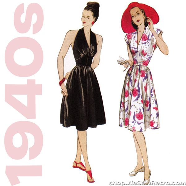 Butterick 5209. 1940s Vintage Reproduction Pattern. Retro Butterick Pattern. Halter Dress Sewing Pattern.
