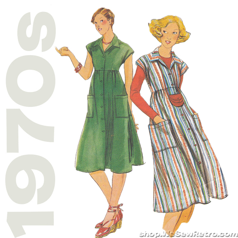 1970s High Waisted Dress Vintage Pattern - Butterick 5246/5247
