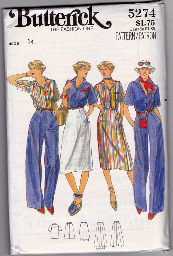 1970s Blouse, Skirt, Pants Vintage Pattern - Butterick 5274