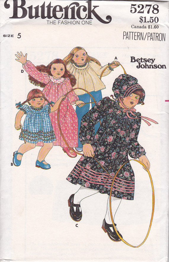 1970s Betsey Johnson Girls Dress Vintage Pattern - Butterick 5278