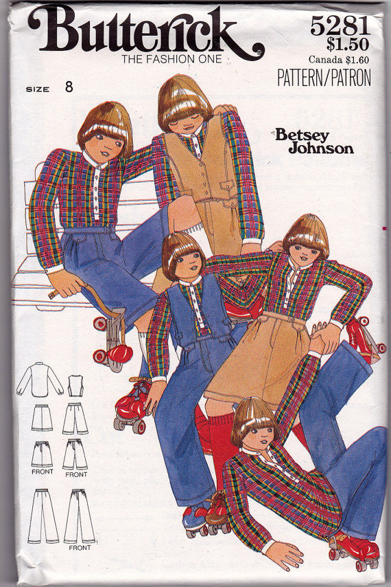1970s Betsey Johnson Girls Vintage Pattern - Butterick 5281