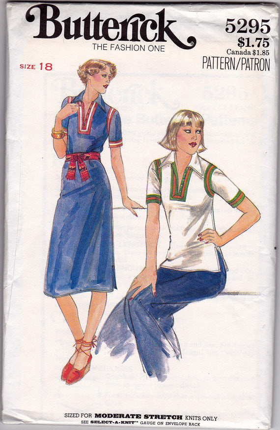 1970s Tubular Dress Sewing Pattern - Butterick 5295