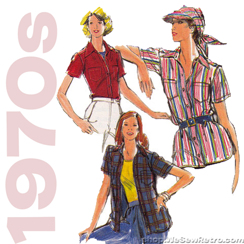 1970s Shirt and Visor Vintage Sewing Pattern - Butterick 5299 / 5300