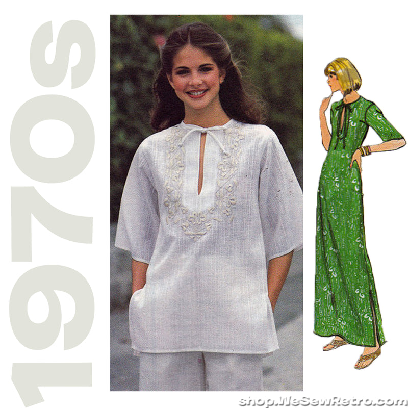 1970s Embroidered Dress and Top Vintage Pattern - Butterick 5310