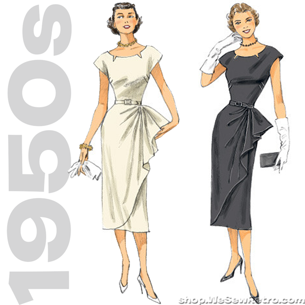 1950s Repro Vintage Sewing Pattern Belted Dress