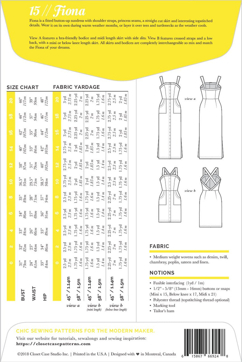 Closet Case Fiona Sundress Paper Sewing Pattern