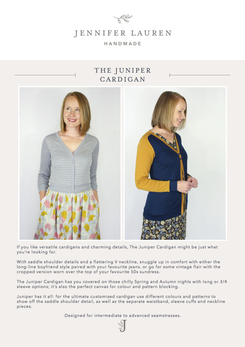 Jennifer Lauren Juniper Cardigan PDF Sewing Pattern