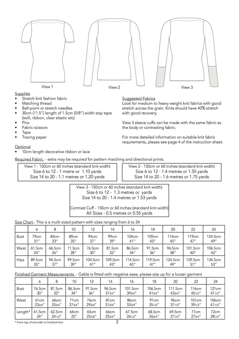 Jennifer Lauren Gable Top PDF Sewing Pattern