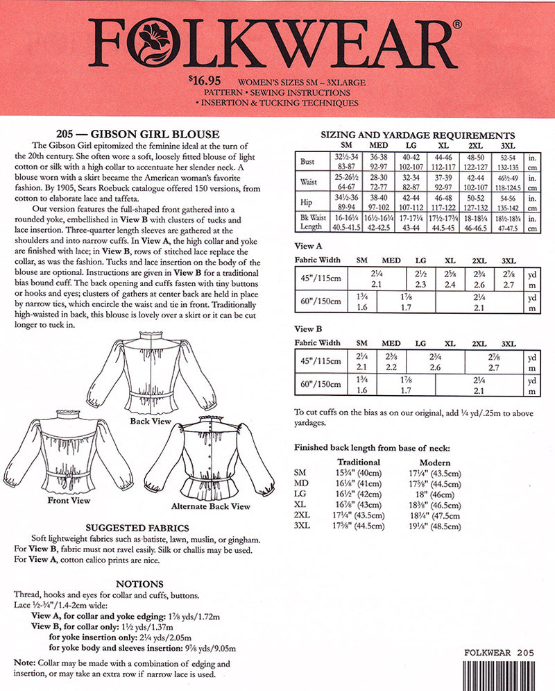 Gibson Girl Blouse Sewing Pattern Folkwear 205