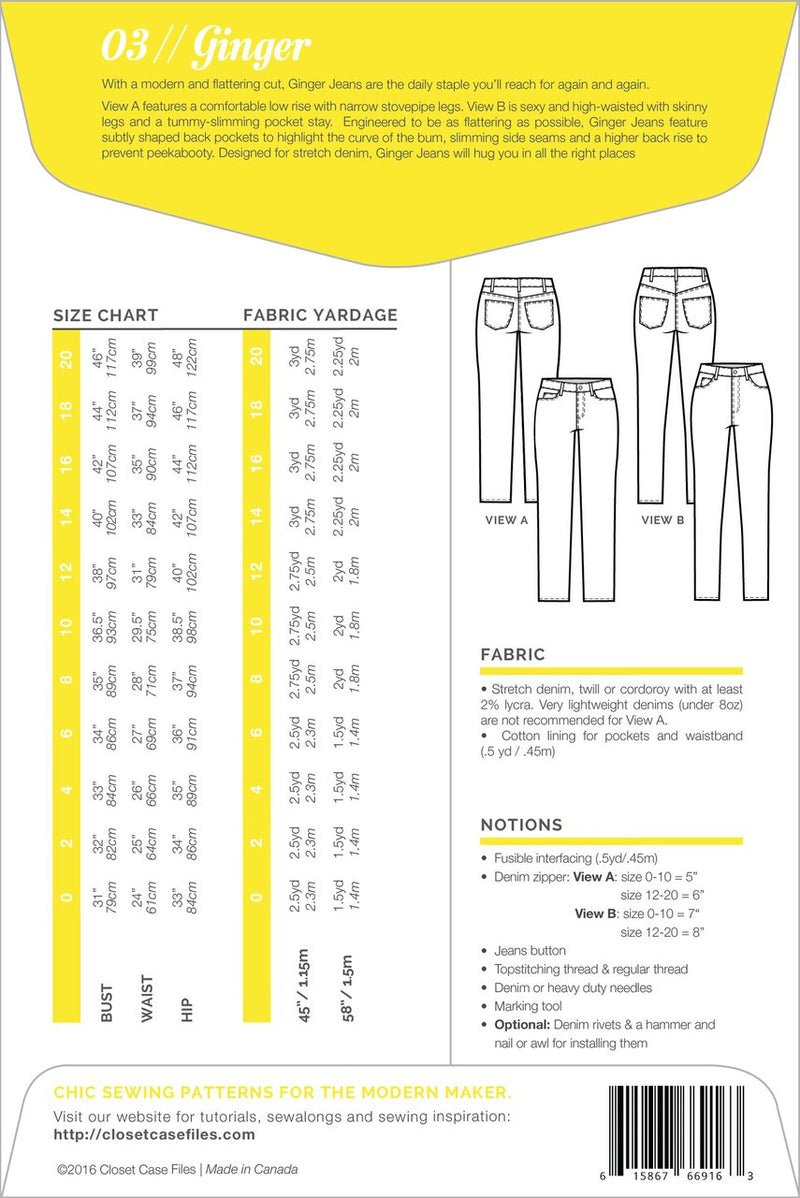 Closet Case Ginger Jeans Sewing Pattern - Paper