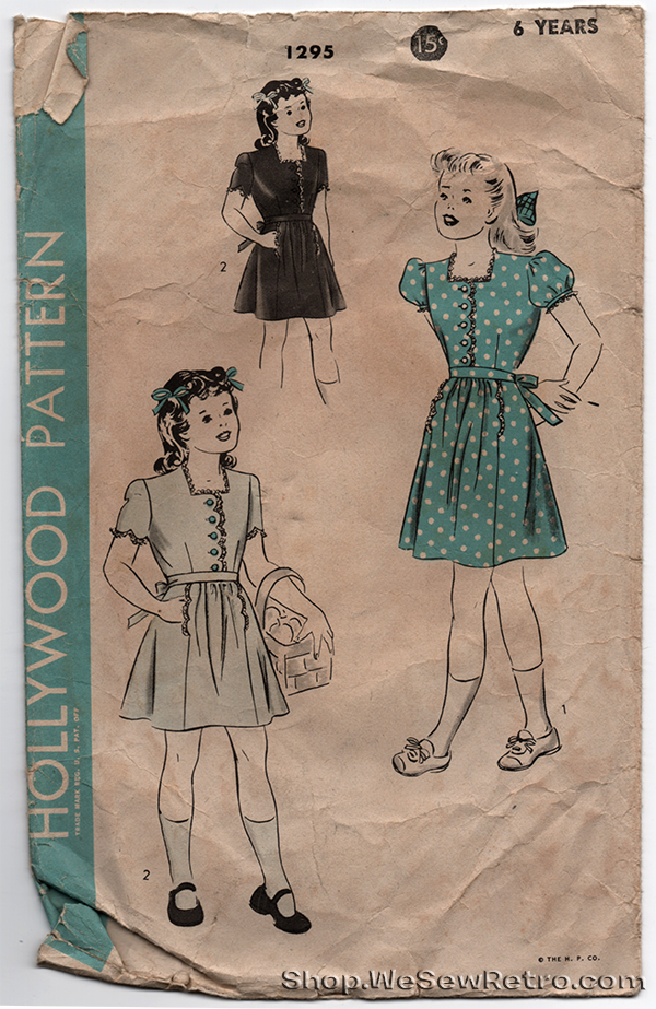 Hollywood Patterns 1295 - 1940s Vintage Pattern Girls Dress - 6 Years Old Dress Sewing Pattern