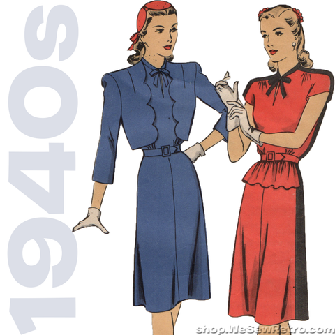 Hollywood 1546 - 1940s Vintage Pattern - Dress and Bolero