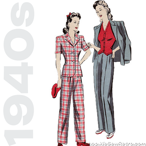 1940s Vintage Sewing Pattern: Pants, Jacket & Vest. Hollywood 899