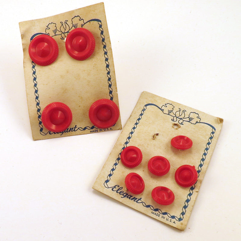 Set of Small & Large Red Vintage Buttons on Card