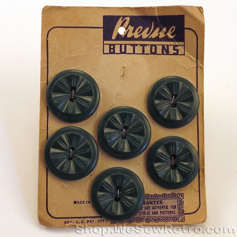 6 Green Vintage Buttons on Card